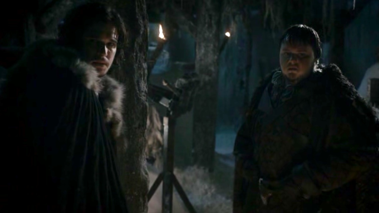 Jon (Kit Harington) and Sam (John Bradley) in GOT 1x04