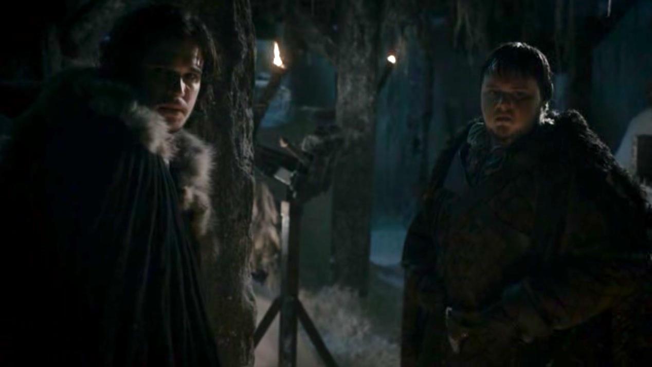 Jon (Kit Harington) and Sam (John Bradley) in GOT 1x04