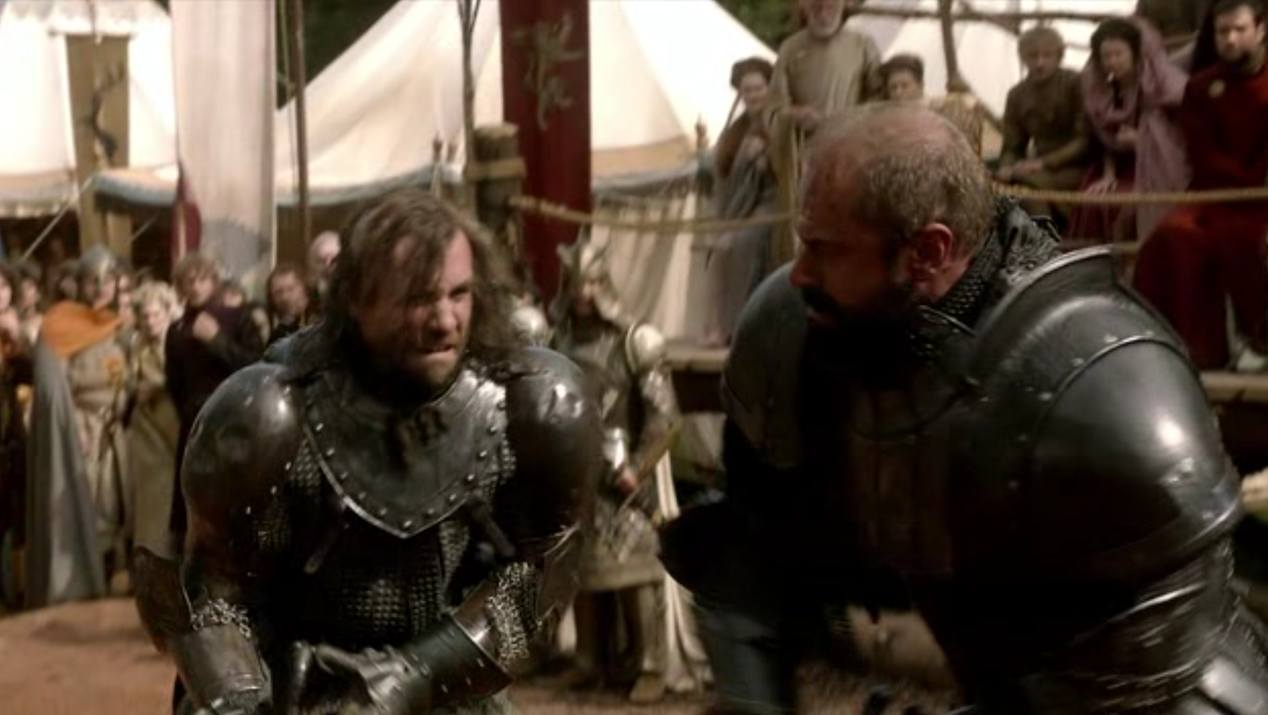 The Hound (Rory McCann) and The Mountain (Conan Stevens) in GOT 1x05