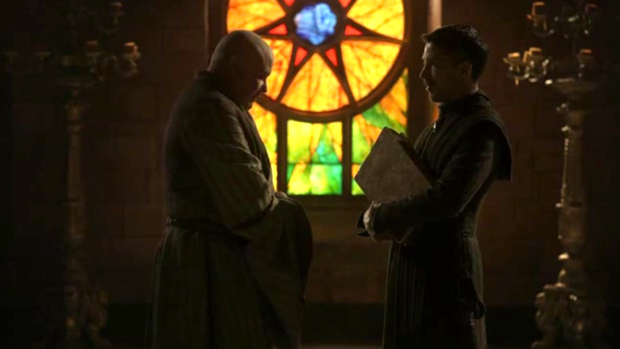 Varys (Conleth Hill) and Littlefinger (Aidan Gillen) in GOT 1x05