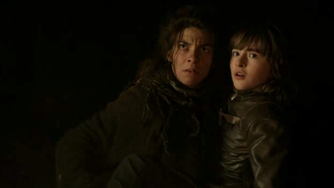Osha (Natalia Tena) and Bran (Isaac Hempstead-Wright) in GOT 110