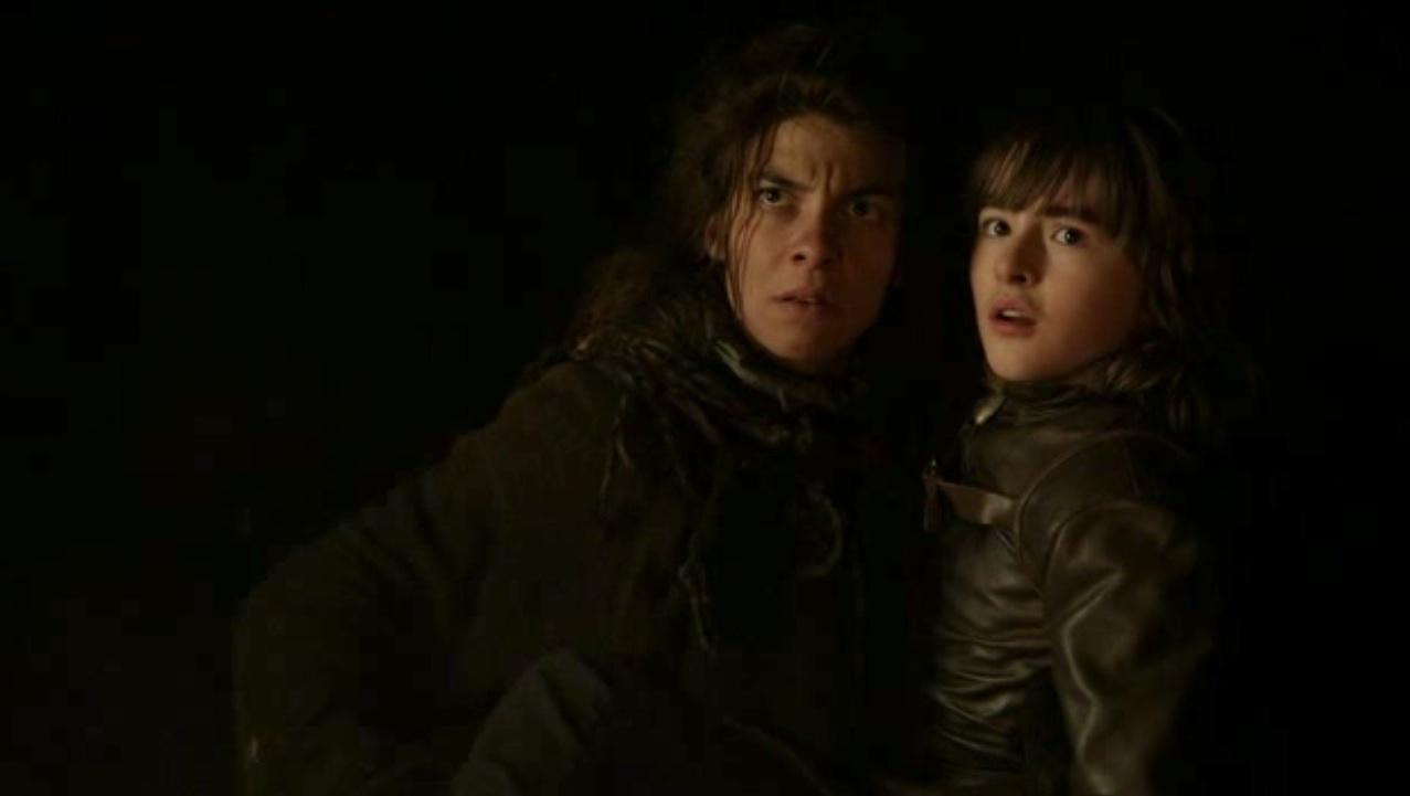 Osha (Natalia Tena) and Bran (Isaac Hempstead-Wright) in GOT 110