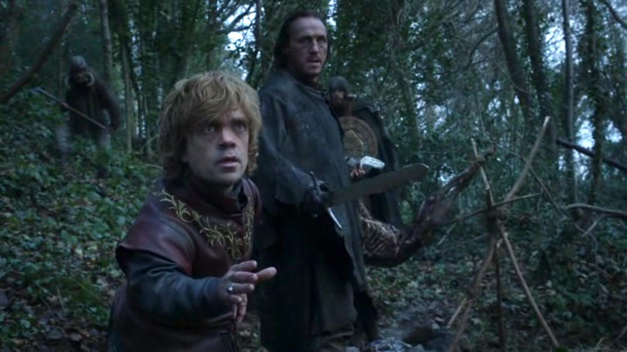 Tyrion (Peter Dinklage) and Bronn (Jerome Flynn) in GOT 108