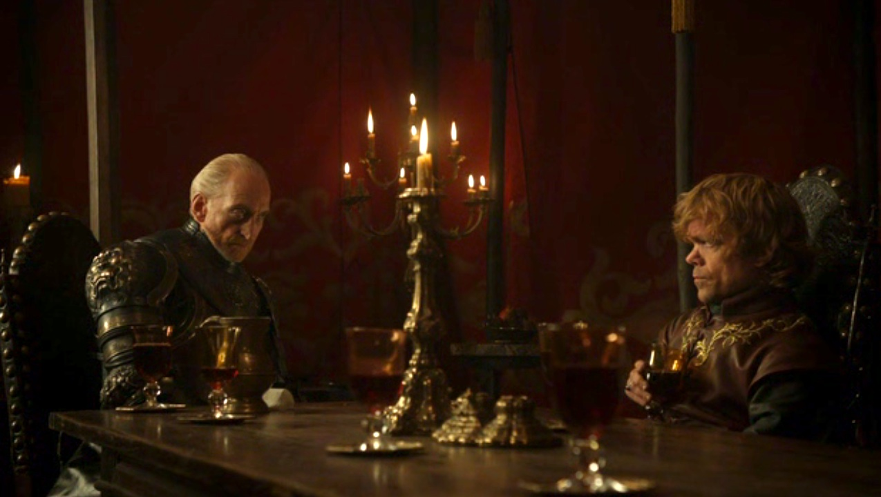 Tywin (Charles Dance) and Tyrion (Peter Dinklage) in GOT 110