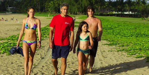Woodley, Clooney, Miller, and Krause in The Descendants