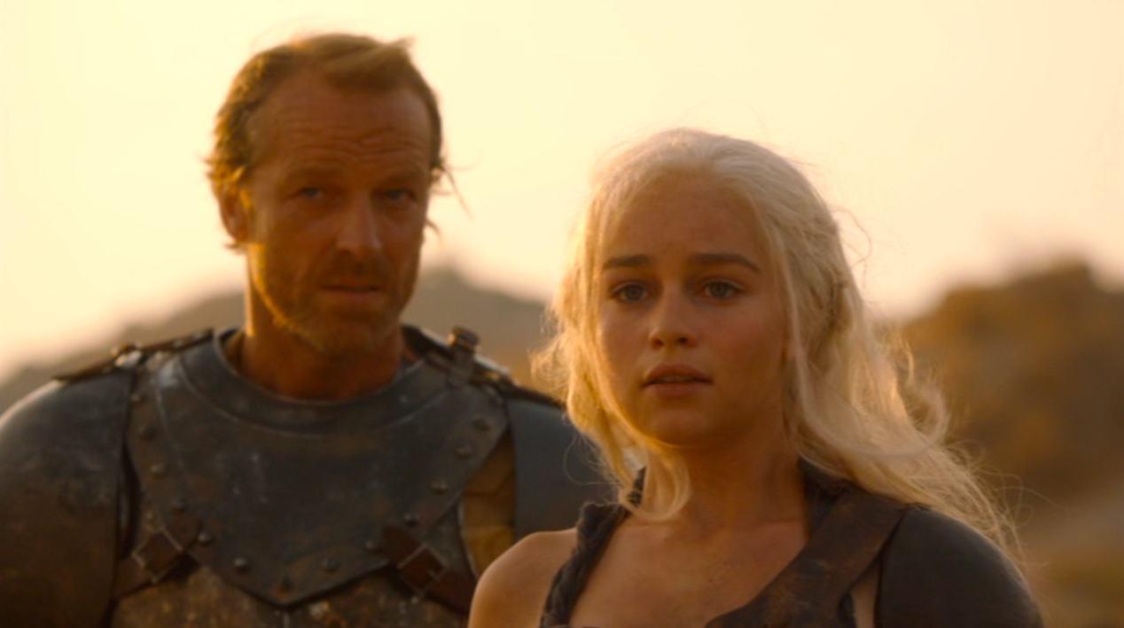 Jorah (Iain Glen) and Dany (Emilia Clarke) in GOT 204