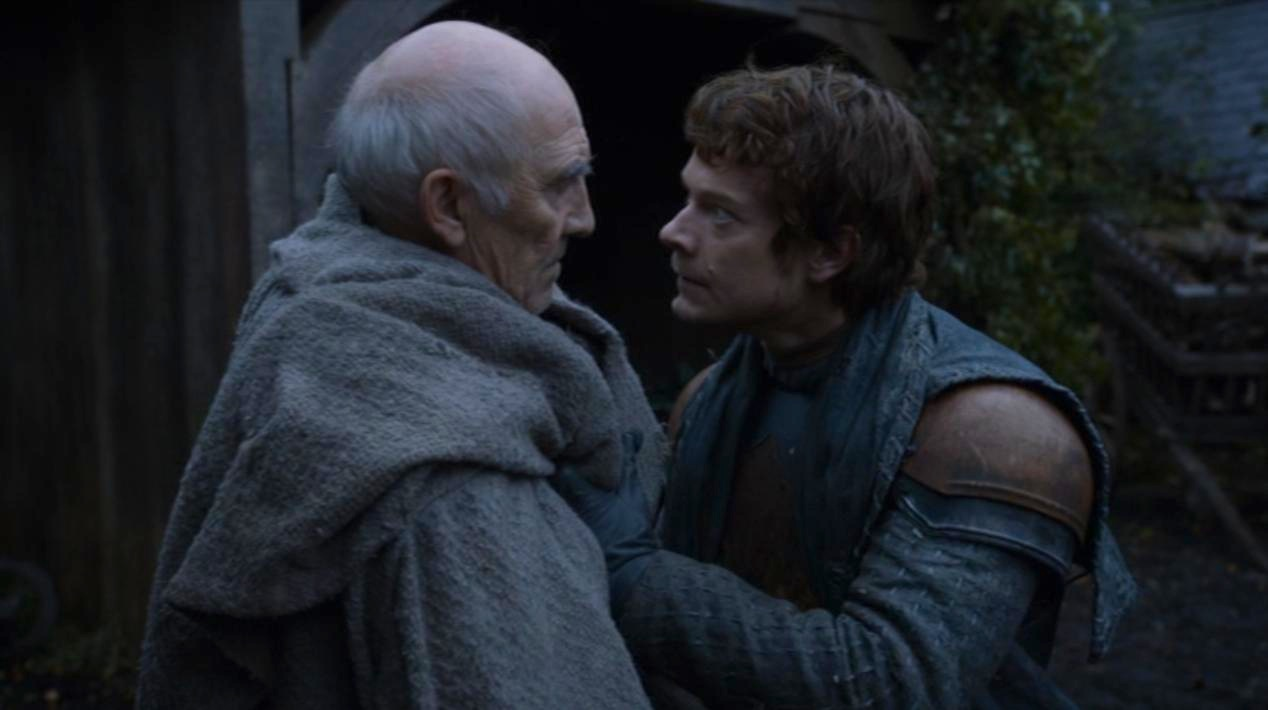 Maester Luwin (Donald Sumpter) and Theon (Alfie Allen) in GOT 207