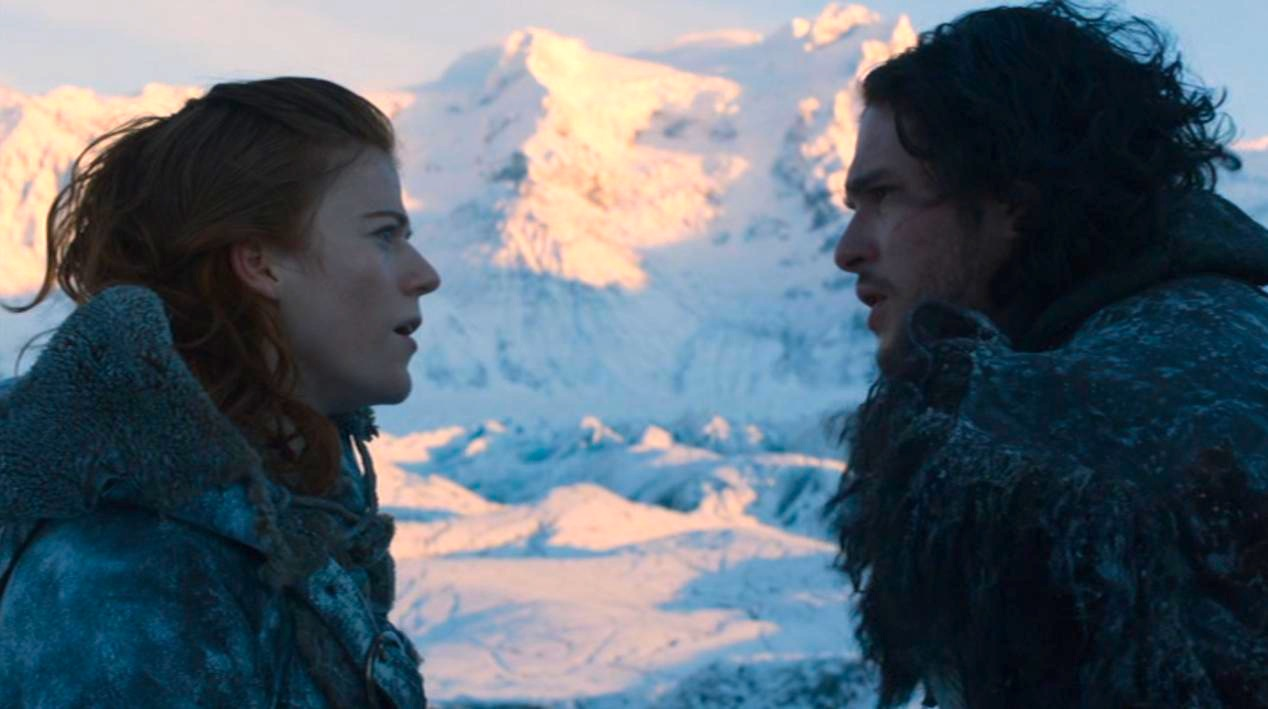 Ygritte (Rose Leslie) and Jon Snow (Kit Harington) in GOT 207