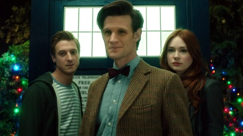 Rory (Arthur Darvill), the Doctor (Matt Smith), and Amy (Karen Gillan)