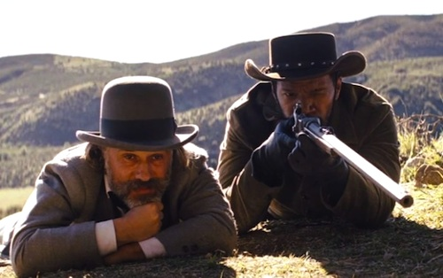 Christoph Waltz and Jamie Foxx in DJANGO UNCHAINED