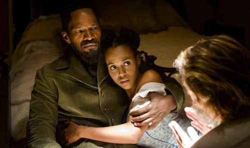 Foxx, Washington, and Schultz in DJANGO UNCHAINED