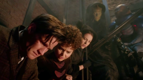 "The Doctor, Clara, Jenny, Madame Vastra, and Strax in ""The Crimson Horror"""