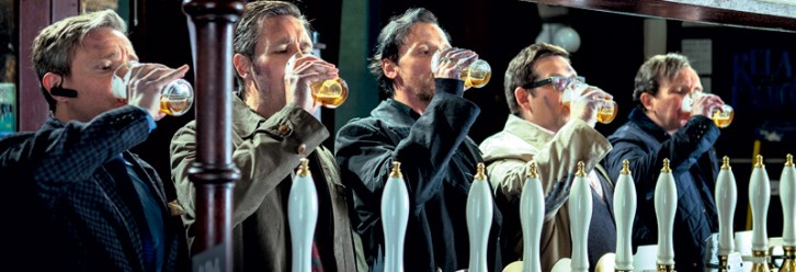 Martin Freeman, Paddy Considine, Simon Pegg, Nick Frost, and Eddie Marsan in THE WORLD'S END