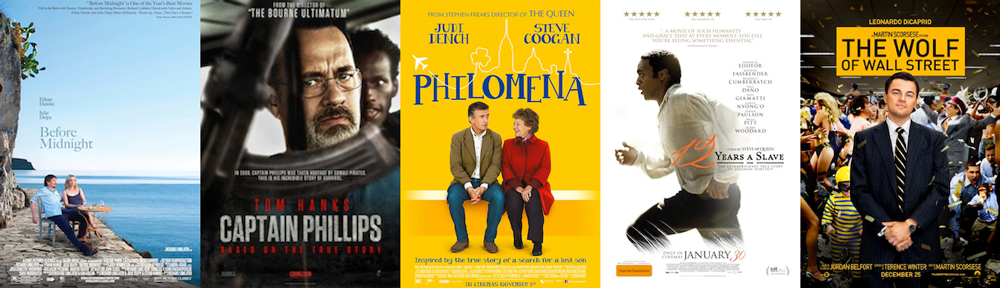 BEST ADAPTED SCREENPLAY: Before Midnight, Captain Phillips, Philomena, 12 Years a Slave, The Wolf of Wall Street