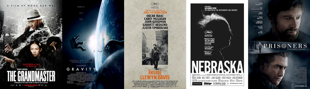 BEST CINEMATOGRAPHY: The Grandmaster, Gravity, Inside Llewyn Davis, Nebraska, Prisoners