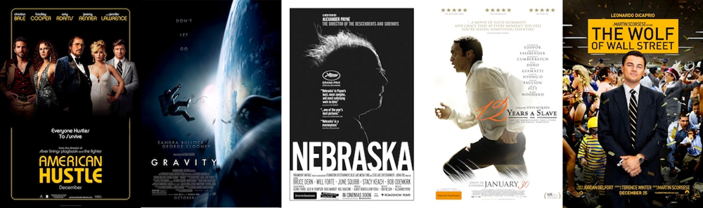 BEST DIRECTING: David O. Russell, AMERICAN HUSTLE; Alfonso Cuaron, GRAVITY; Alexander Payne, NEBRASKA; Steve McQueen, 12 YEARS A SLAVE; Martin Scorsese, THE WOLF OF WALL STREET