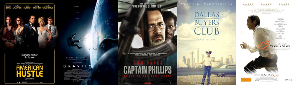 BEST FILM EDITING: American Hustle, Captain Phillips, Dallas Buyers Club, Gravity, 12 Years a Slave