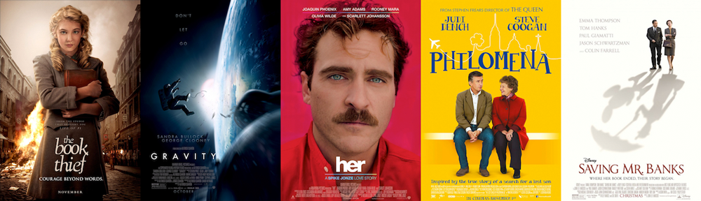 BEST ORIGINAL SCORE: The Book Thief, Gravity, Her, Philomena, Saving Mr. Banks