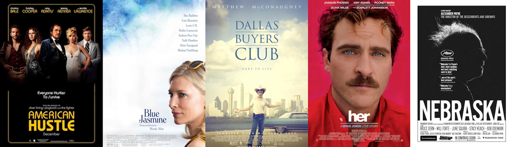 BEST ORIGINAL SCREENPLAY: American Hustle, Blue Jasmine, Dallas Buyers Club, Her, Nebraska