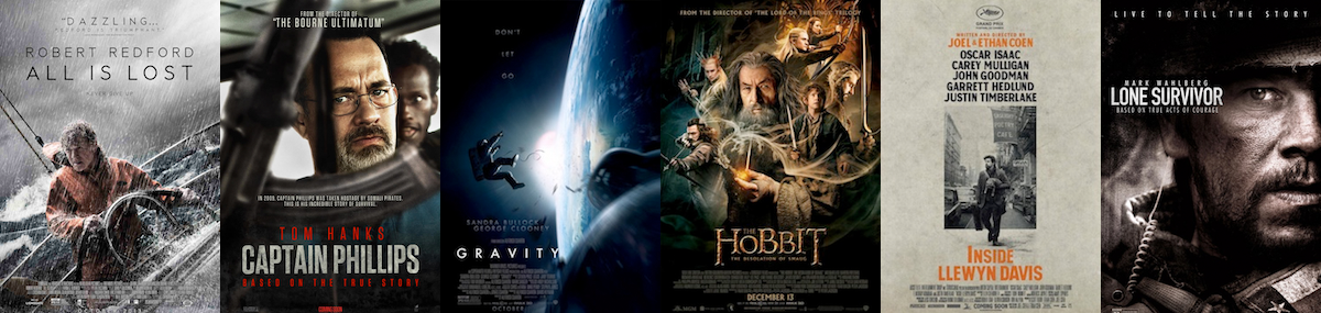 BEST SOUND EDITING/MIXING: All Is Lost; Captain Phillips; Gravity; The Hobbit: The Desolation of Smaug; Inside Llewyn Davis; Lone Survivor
