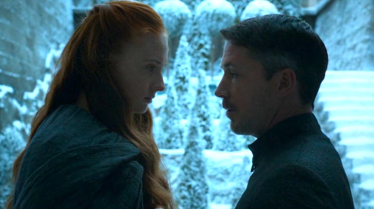 Sansa-Sophie-Turner-and-Baelish-Aidan-Gillen-in-Mockingbird