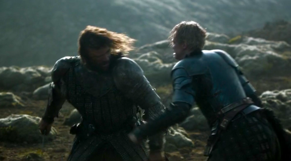 The Hound (Rory McCann) vs. Brienne of Tarth (Gwendoline Christie)