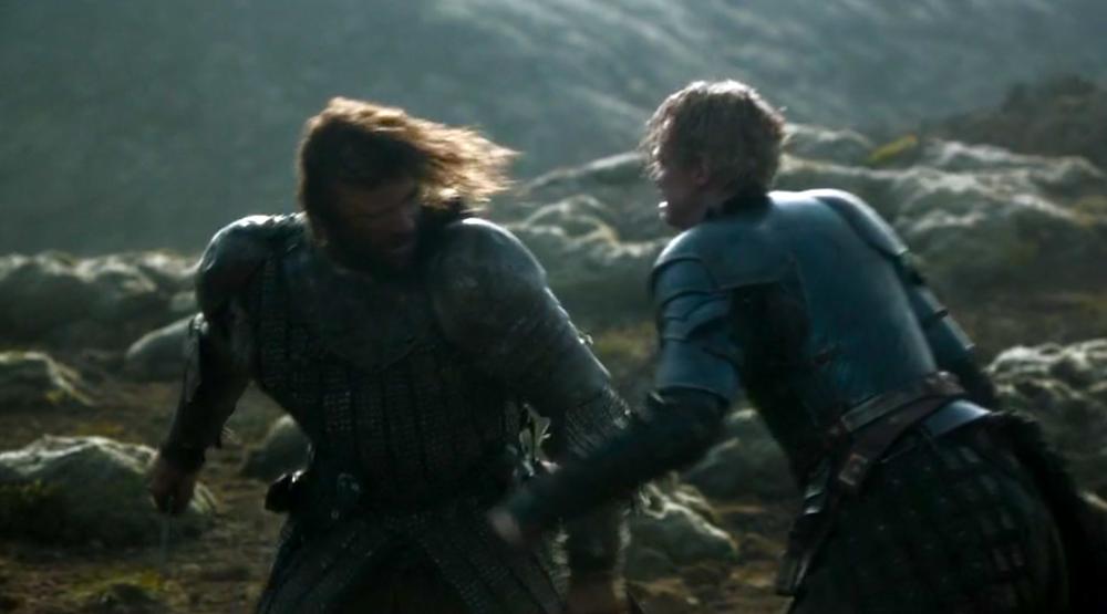 The Hound (Rory McCann) vs. Brienne of Tarth (Gwendoline Christie)