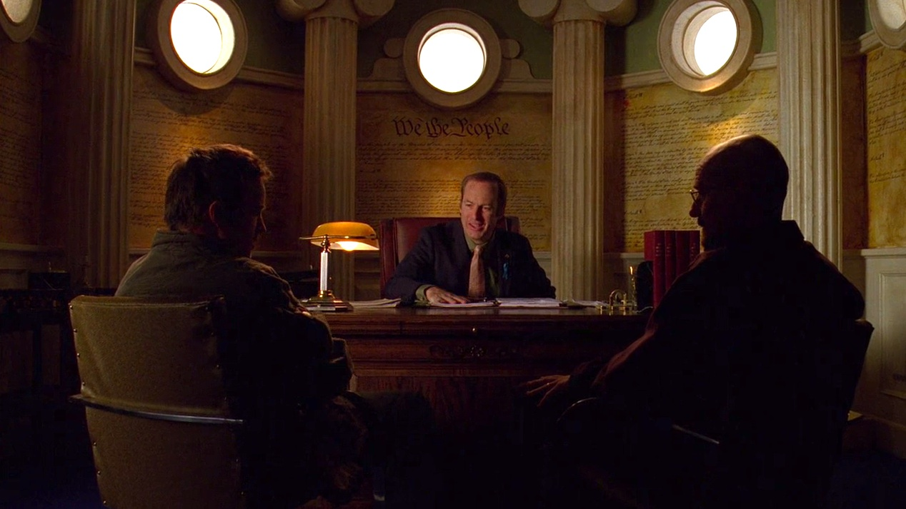 Jesse (Aaron Paul), Saul (Bob Odenkirk), and Walt (Bryan Cranston) in NO MAS