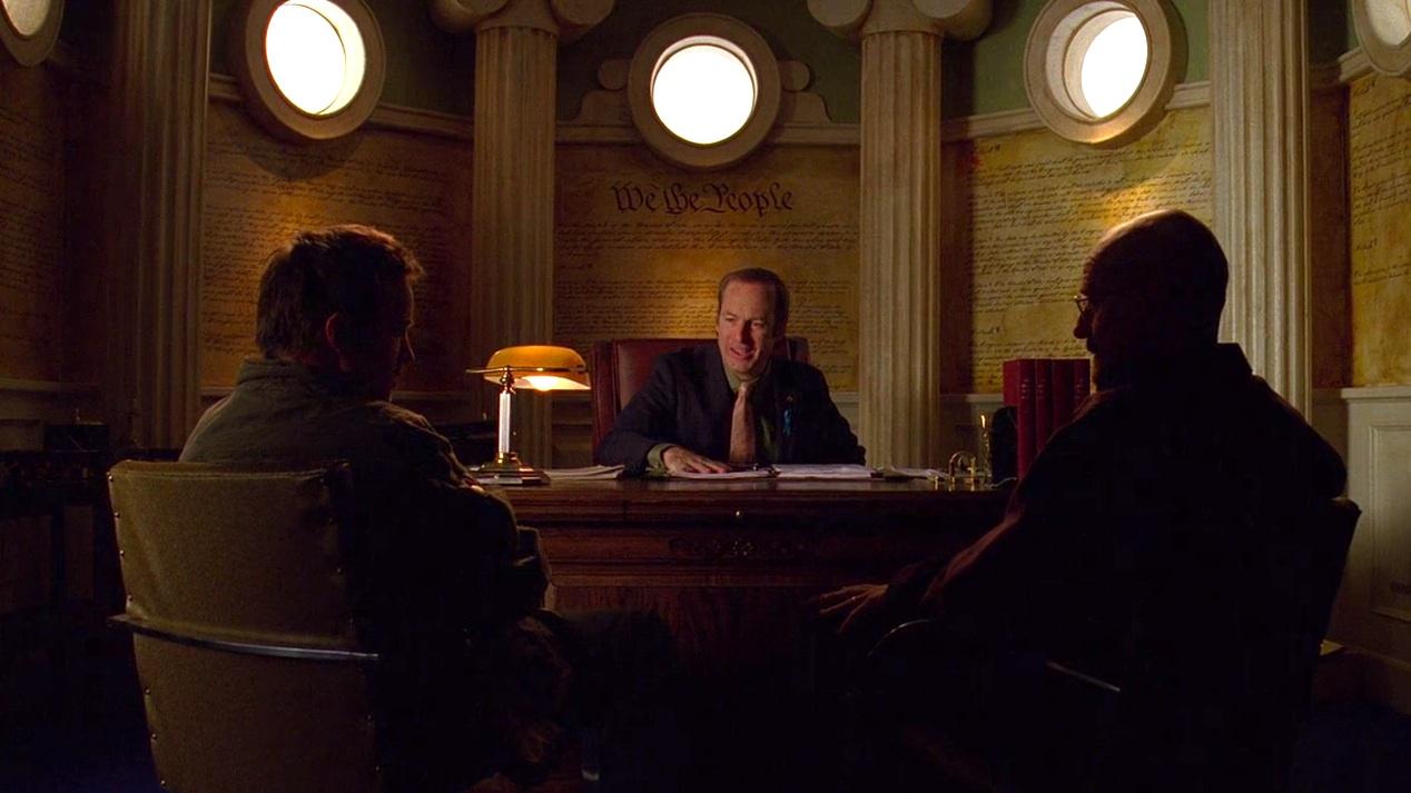 Jesse (Aaron Paul), Saul (Bob Odenkirk), and Walt (Bryan Cranston) in NO MAS