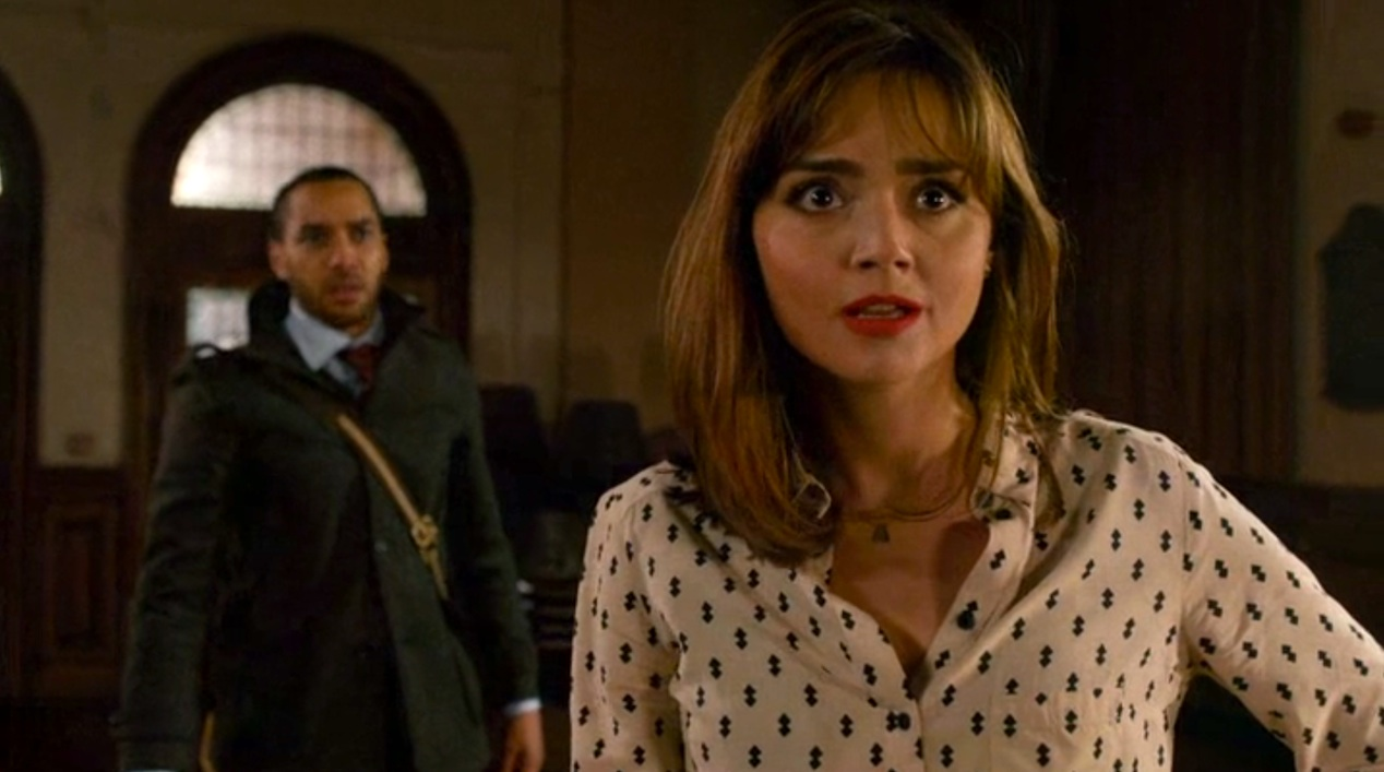 Danny (Samuel Anderson) and Clara (Jenna Coleman) in THE CARETAKER