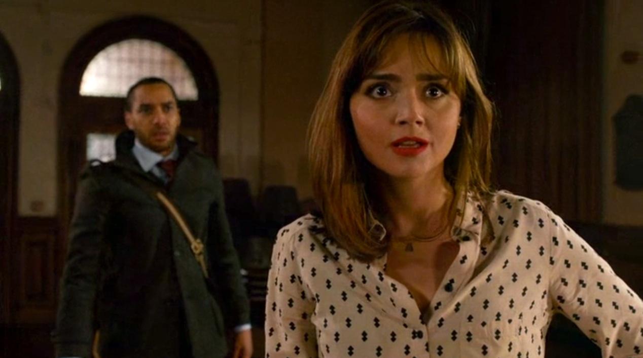 Danny (Samuel Anderson) and Clara (Jenna Coleman) in THE CARETAKER