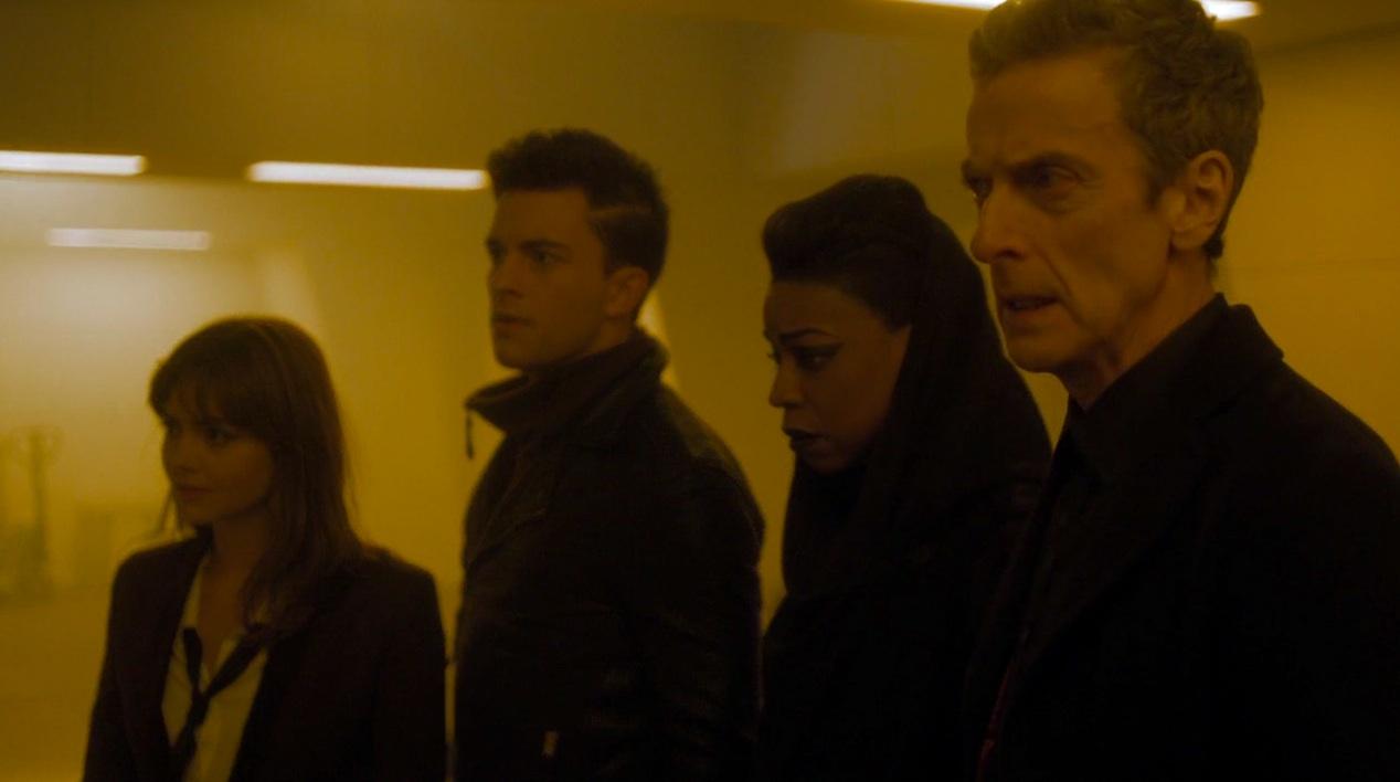 Jenna Coleman, Jonathan Bailey, Pippa Bennett-Warner, and Peter Capaldi in TIME HEIST
