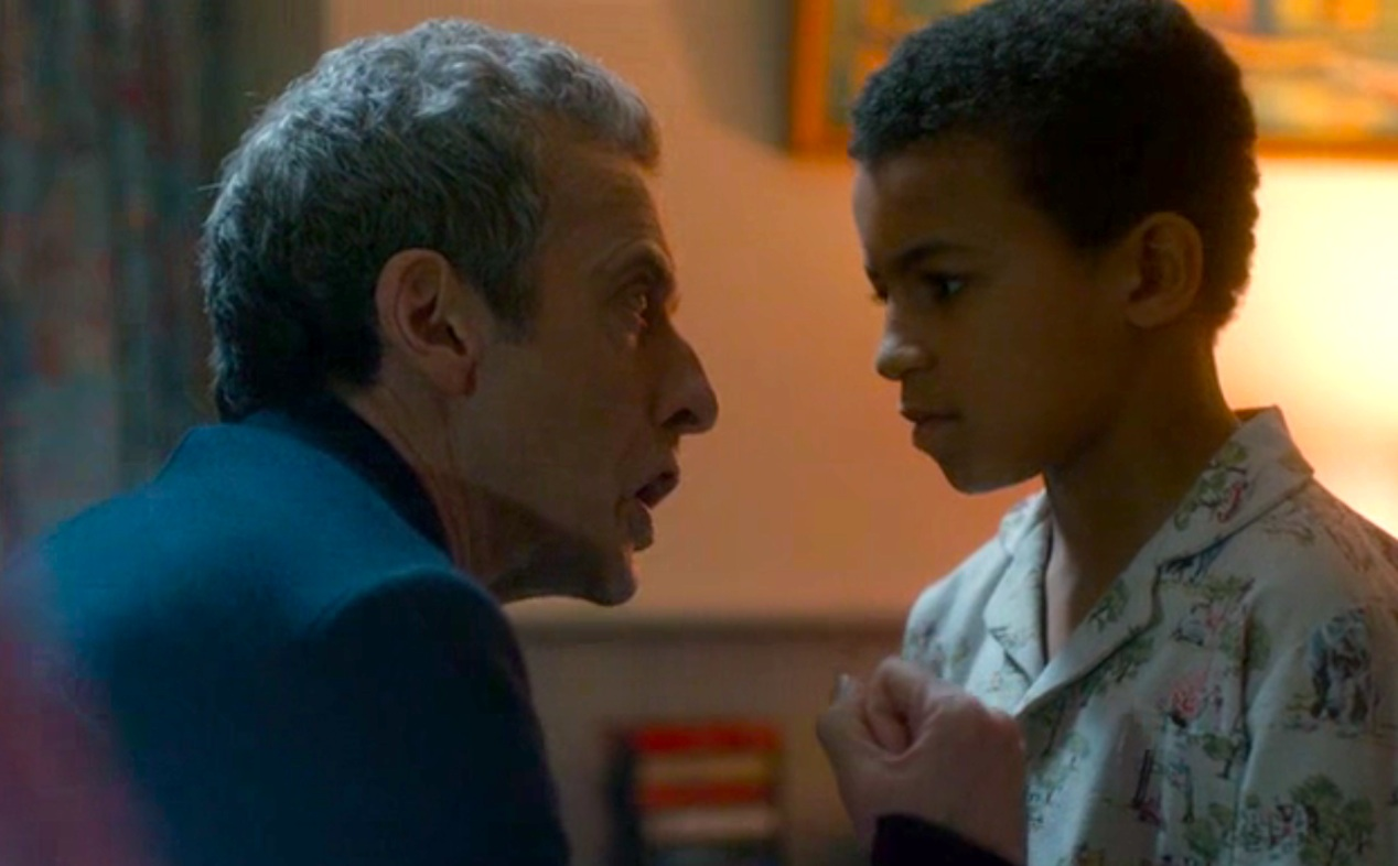 The Doctor (Peter Capaldi) and Rupert Pink (Remi Gooding) in LISTEN