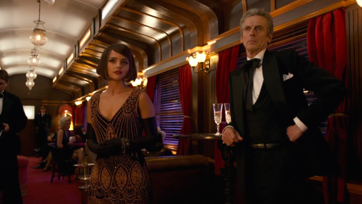 Jenna Coleman and Peter Capaldi in Mummy on the Orient Express