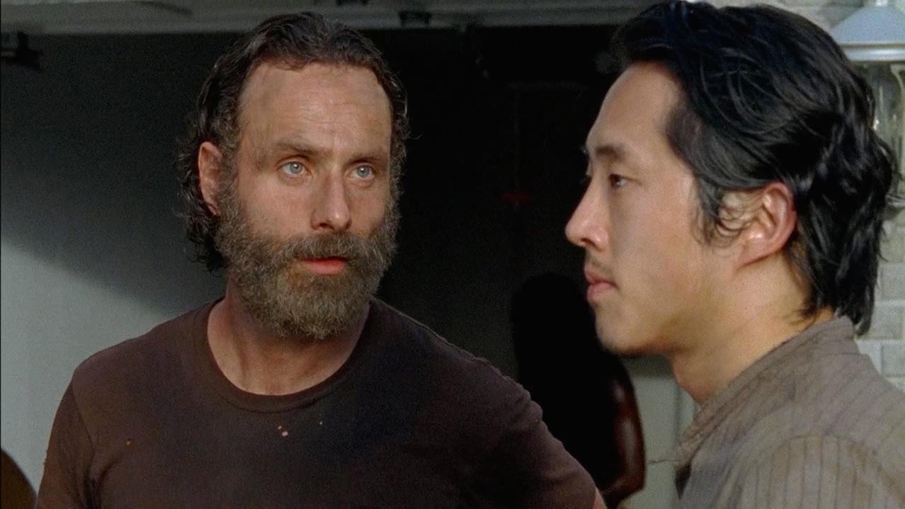 Rick (Andrew Lincoln) and Glenn (Steven Yeun)