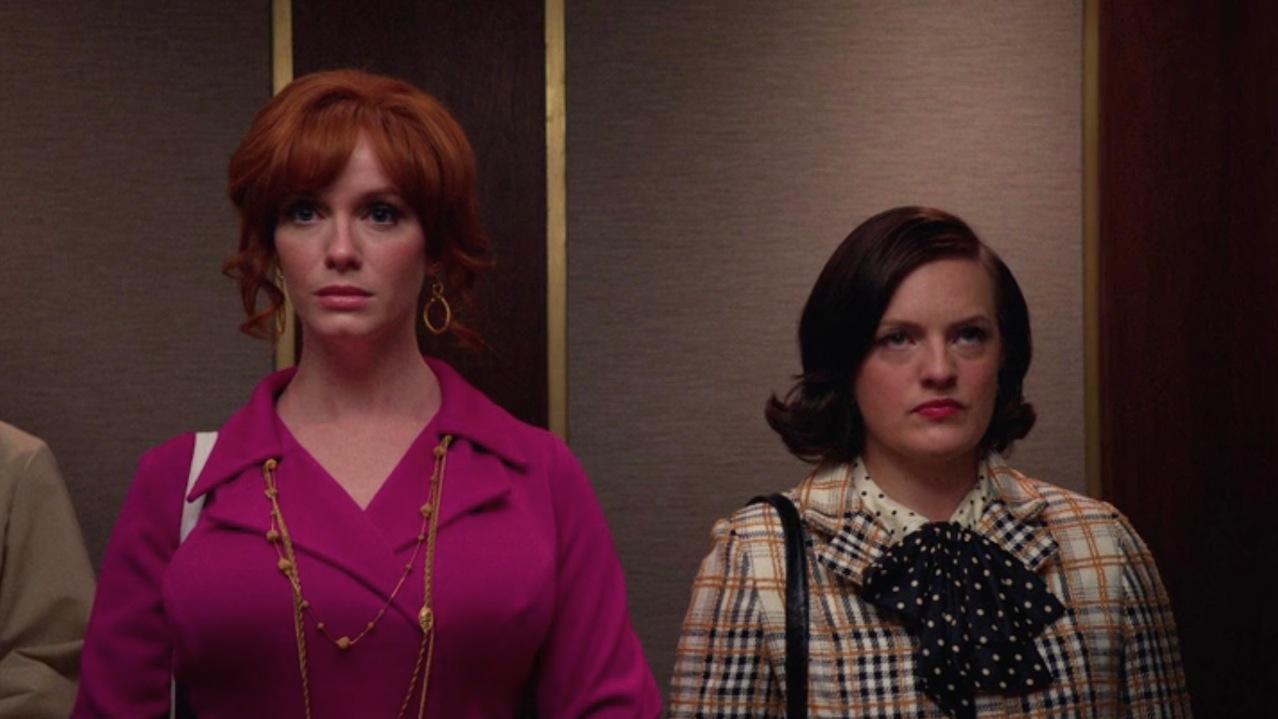 Joan (Christina Hendricks) and Peggy (Elisabeth Moss) in Severance