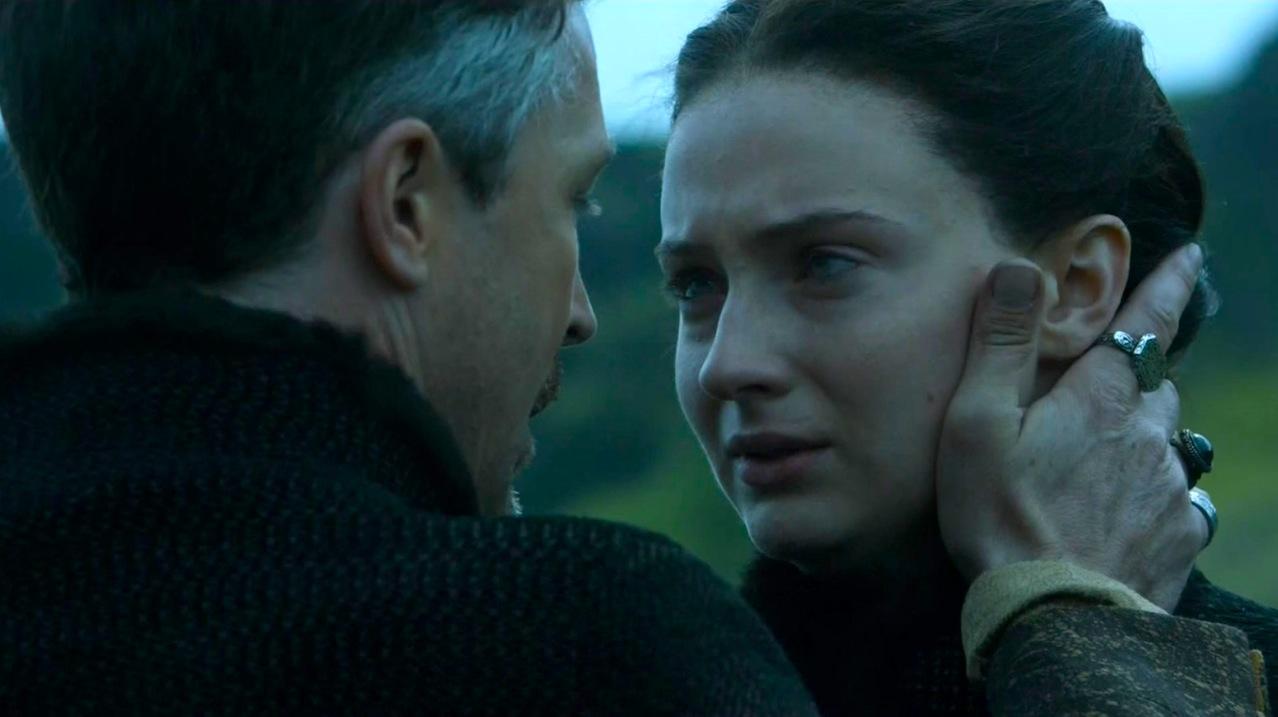Littlefinger (Aiden Gillan) and Sansa (Sophie Turner) in High Sparrow
