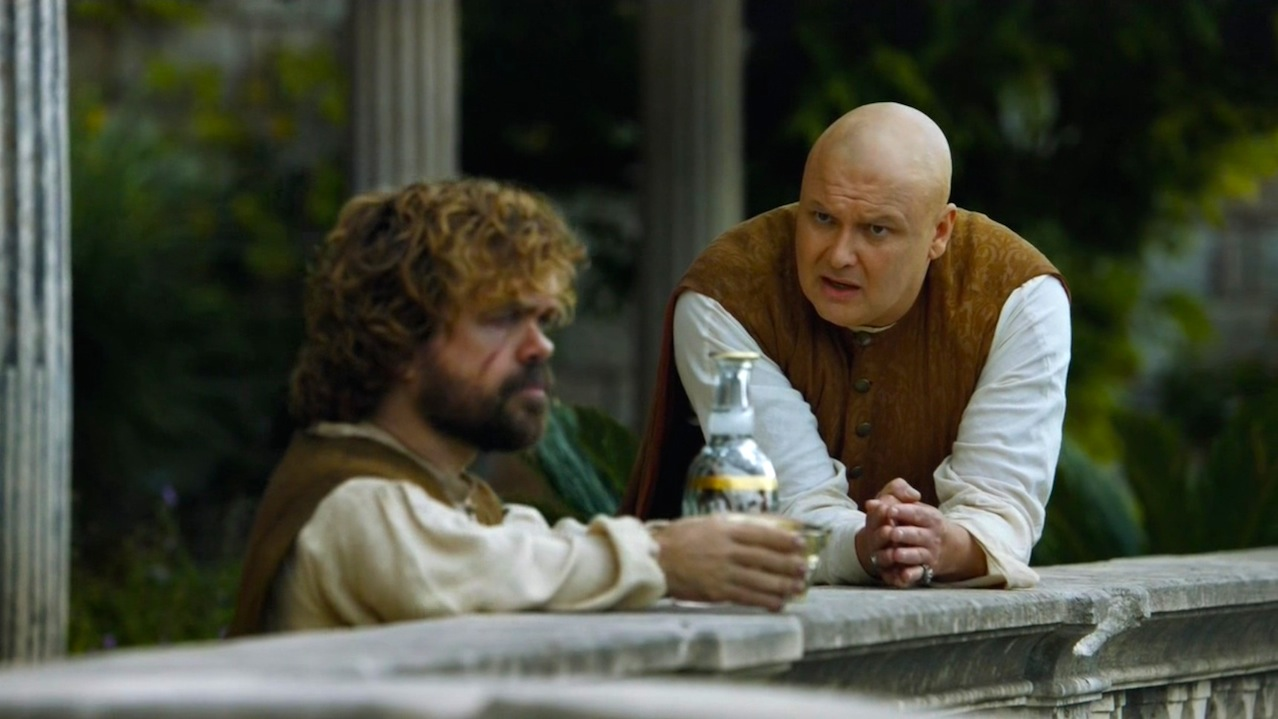 Tyrion (Peter Dinklage) and Varys (Conleth Hill) in The Wars to Come