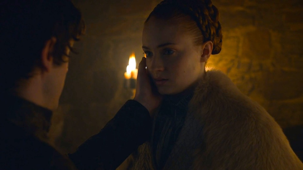 Ramsay (Iwan Rheon) and Sansa (Sophie Turner)