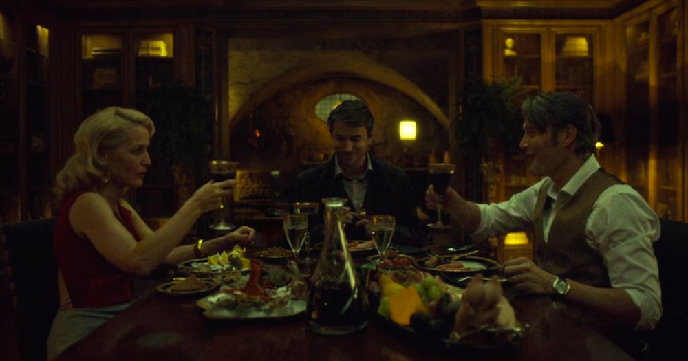 Gillian Anderson, Tom Wisdom, and Mads Mikkelsen in Antipasto