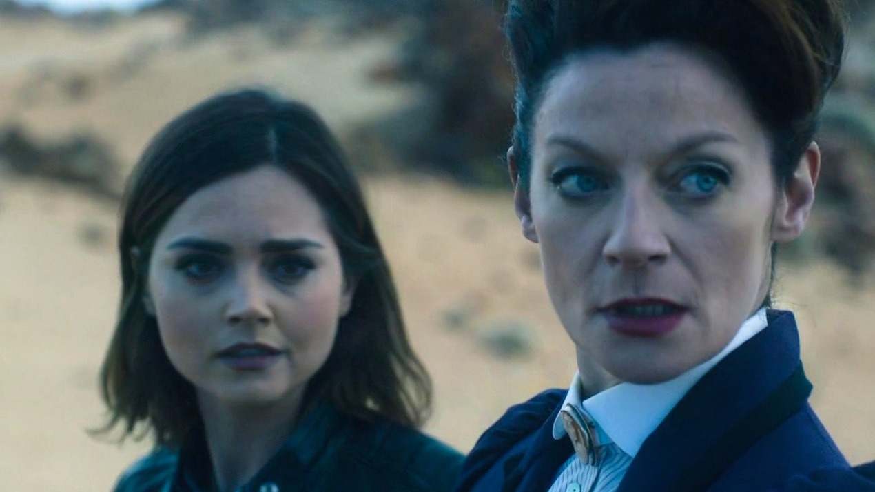 Clara (Jenna Coleman) and Missy (Michelle Gomez) in The Magician's Apprentice