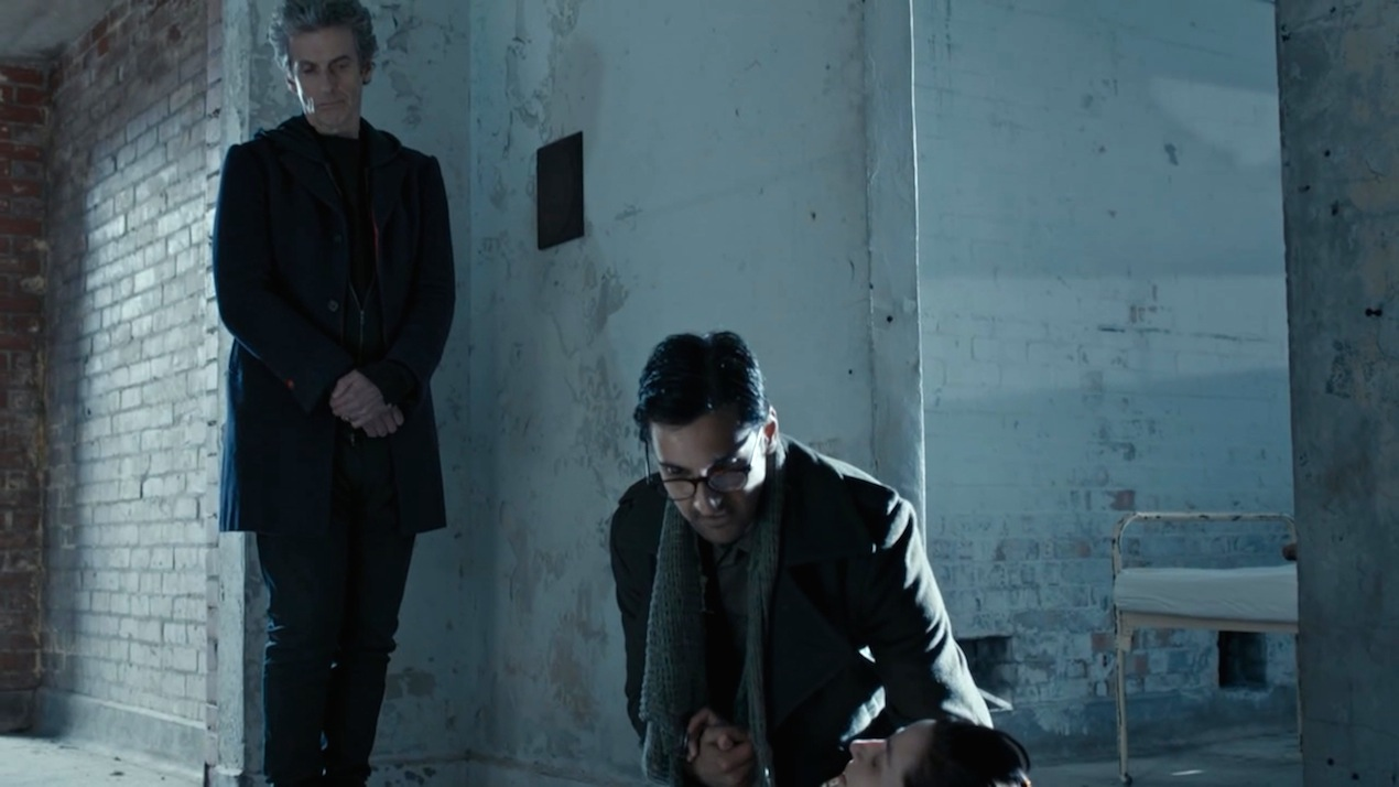 The Doctor (Peter Capaldi), Bennett (Arsher Ali), and O'Donnell (Morven Christie) in Before the Flood