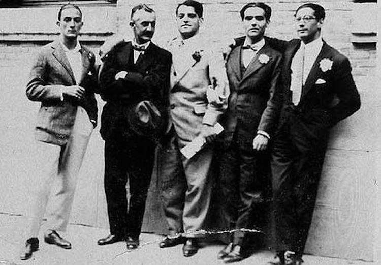 Salvador Dalí, Moreno Villa, Luis Buñuel, Federico García Lorca, and Jose Antonio Rubio Sacristán, in Madrid, 1926