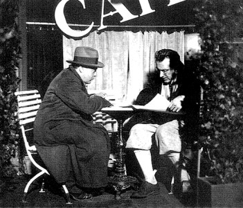 Peter Lorre and Fritz Lang on the set of M.