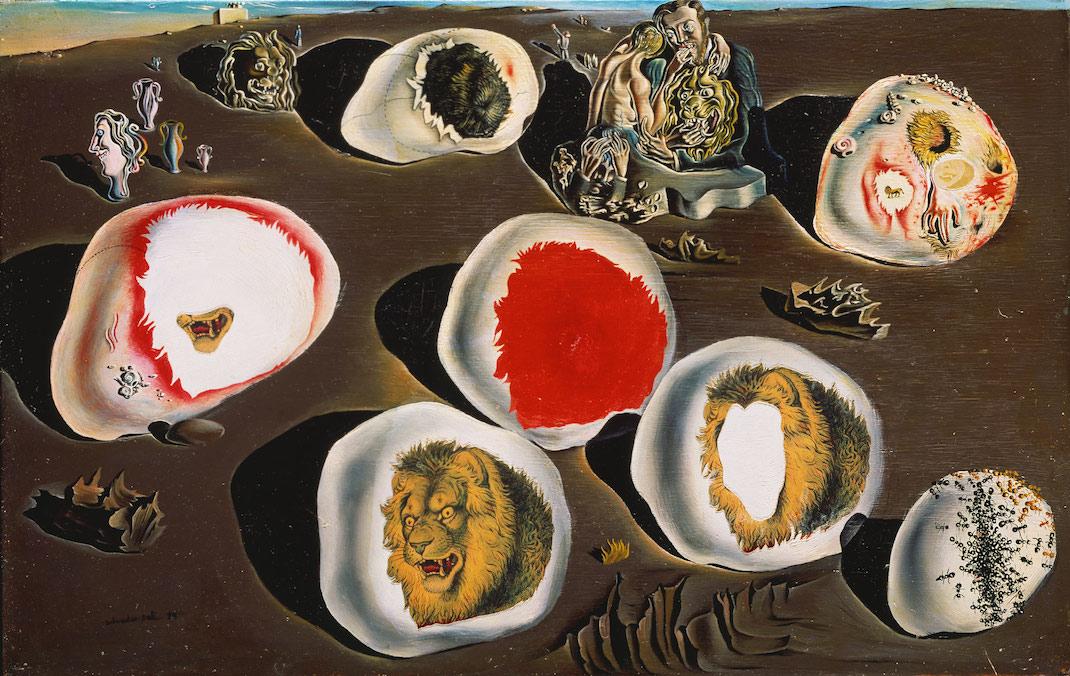 Salvador Dali's The Accommodations of Desire (1929), painted the same year as Bunuel and Dail made Un Chien Andalou, and incorporating some of the same images.