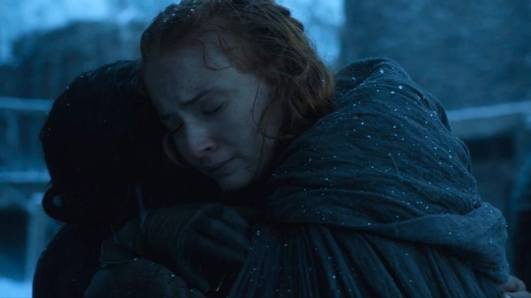 Jon (Kit Harington) and Sansa (Sophie Turner) in GOT 604