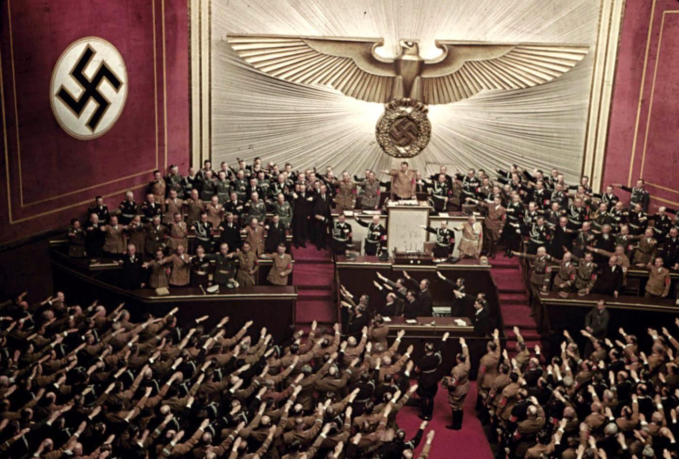 Adolf Hitler makes keynote address at Reichstag session, Kroll Opera House, Berlin, 1939. (Image: RareHistoricalPhotos)