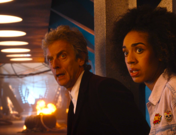 The Doctor (Peter Capaldi) and Bill (Pearl Mackie)