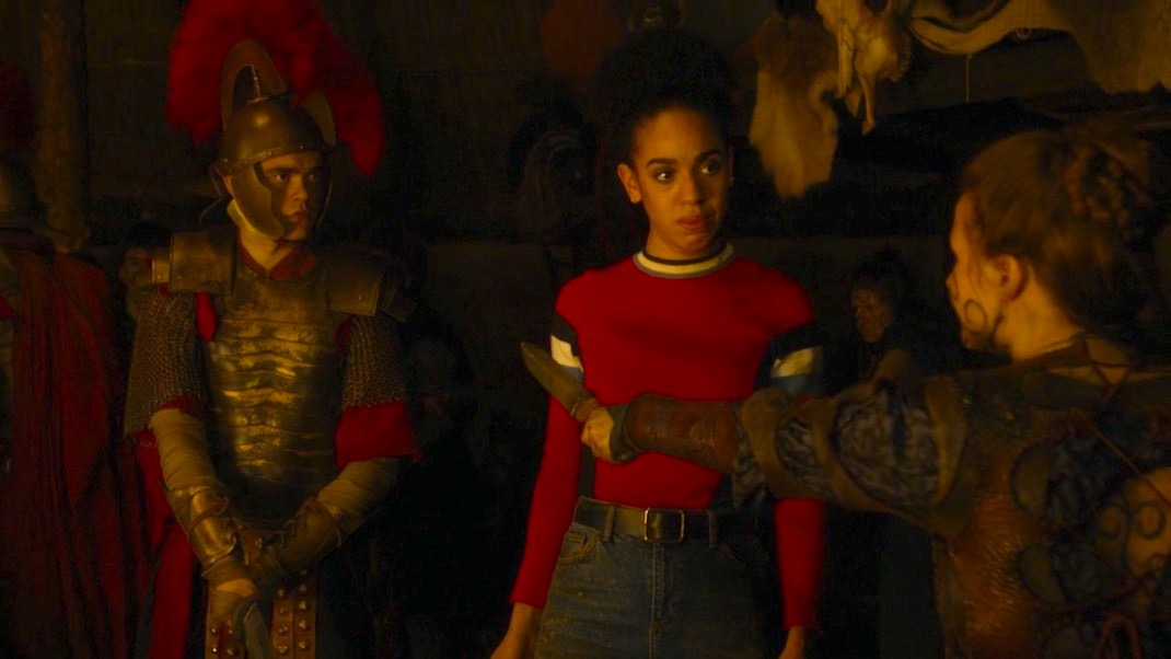 Brian Vernel, Pearl Mackie, and Rebecca Benson in The Eaters of Light