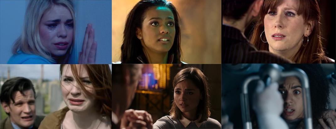 Rose, Martha, Donna, Amy, Clara, and Bill